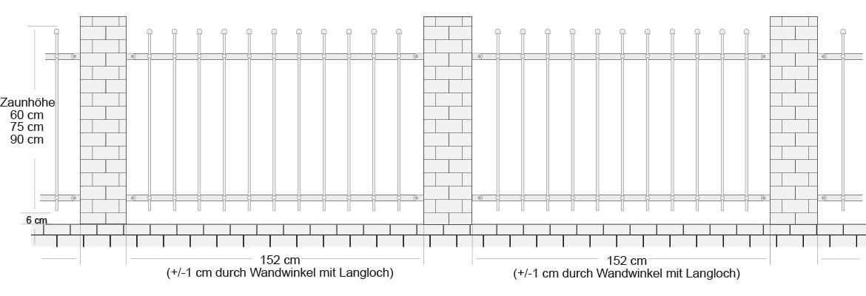 Zaun auf Mauer - Zaun Granitpfosten Maße